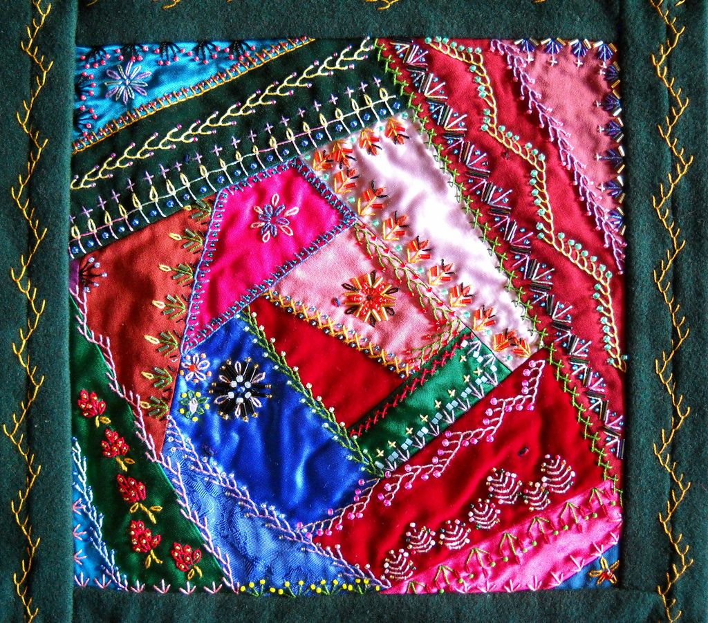I ❤ crazy quilting . . .Victorian Crazy Quilt Block- By Julie Can Draw- no name given for this block. But just as beautiful as the others.