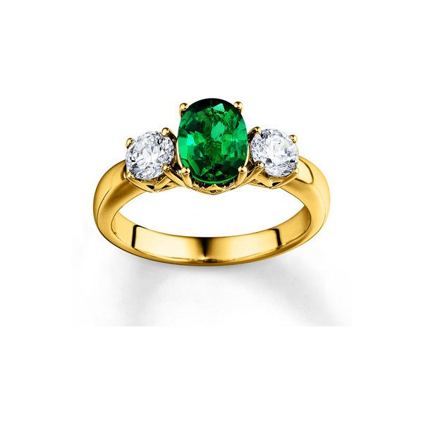 Natural Emerald Ring Diamond Accents 10K Yellow Gold $3 000