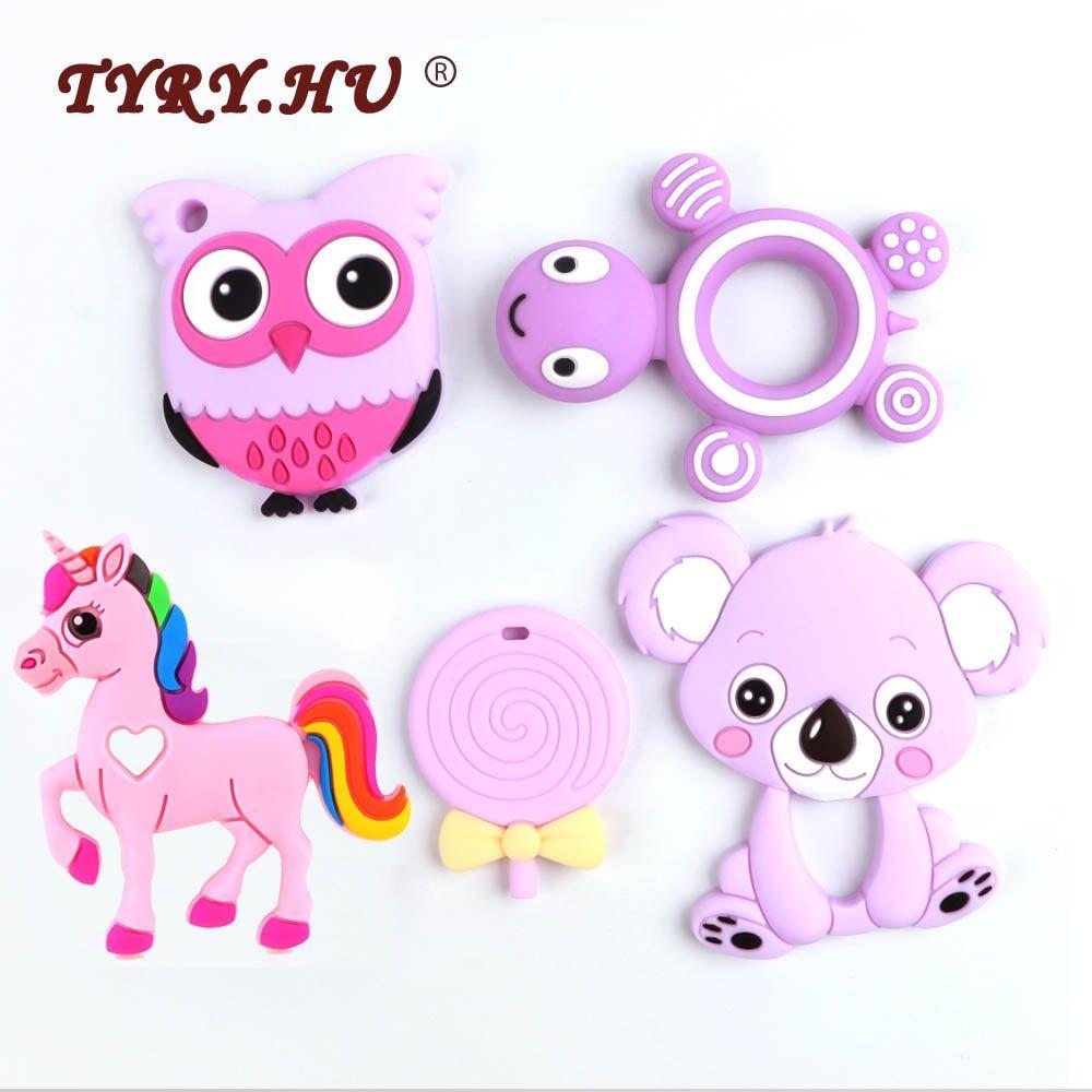 Safe Baby Silicone Teether Animal Shape Chew Teething Baby Toys Nursing Pendant