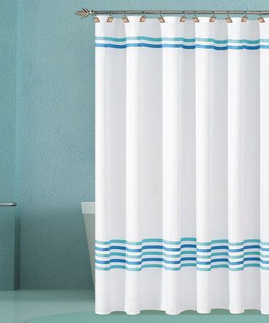 Take a look at this White Trinity Hotel Shower Curtain by Duck River Textile on #zulily today! $21.99, regular 60.00.  PRODUCT DESCRIPTION: Powerful bathroom ballads deserve an equally bold backdrop. This stripe shower curtain features an elegant design that assimilates into most décor schemes, while the durable construction keeps moisture off the floor during those acrobatic air guitar solos.   70'' W x 72'' H 100% polyester Machine wash Imported