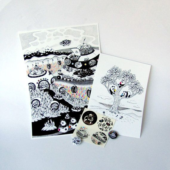 Pandarama Megaset (Prints, Stickers & Buttons) $45