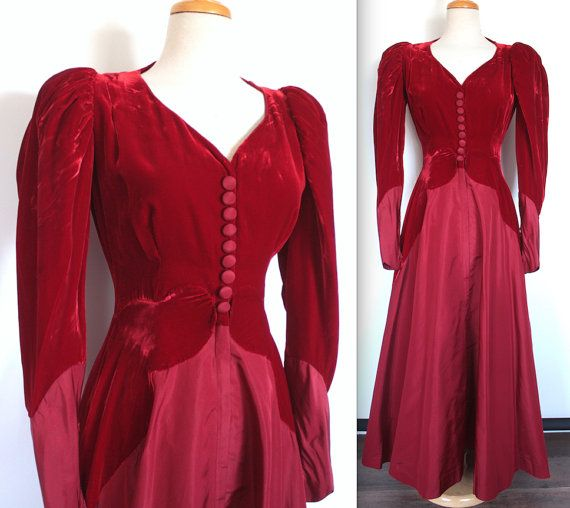 Vintage Dress    Ruby Red Velvet and Taffeta Evening Gown    Victorian  Mutton Sleeves    Tudor Holiday Party Dress by TrueValueVintage on Etsy 56a54bdad
