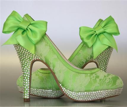 Rio Lime Green Platform Wedding Shoes With Lace Overlay Rhinestone Covered Heel And
