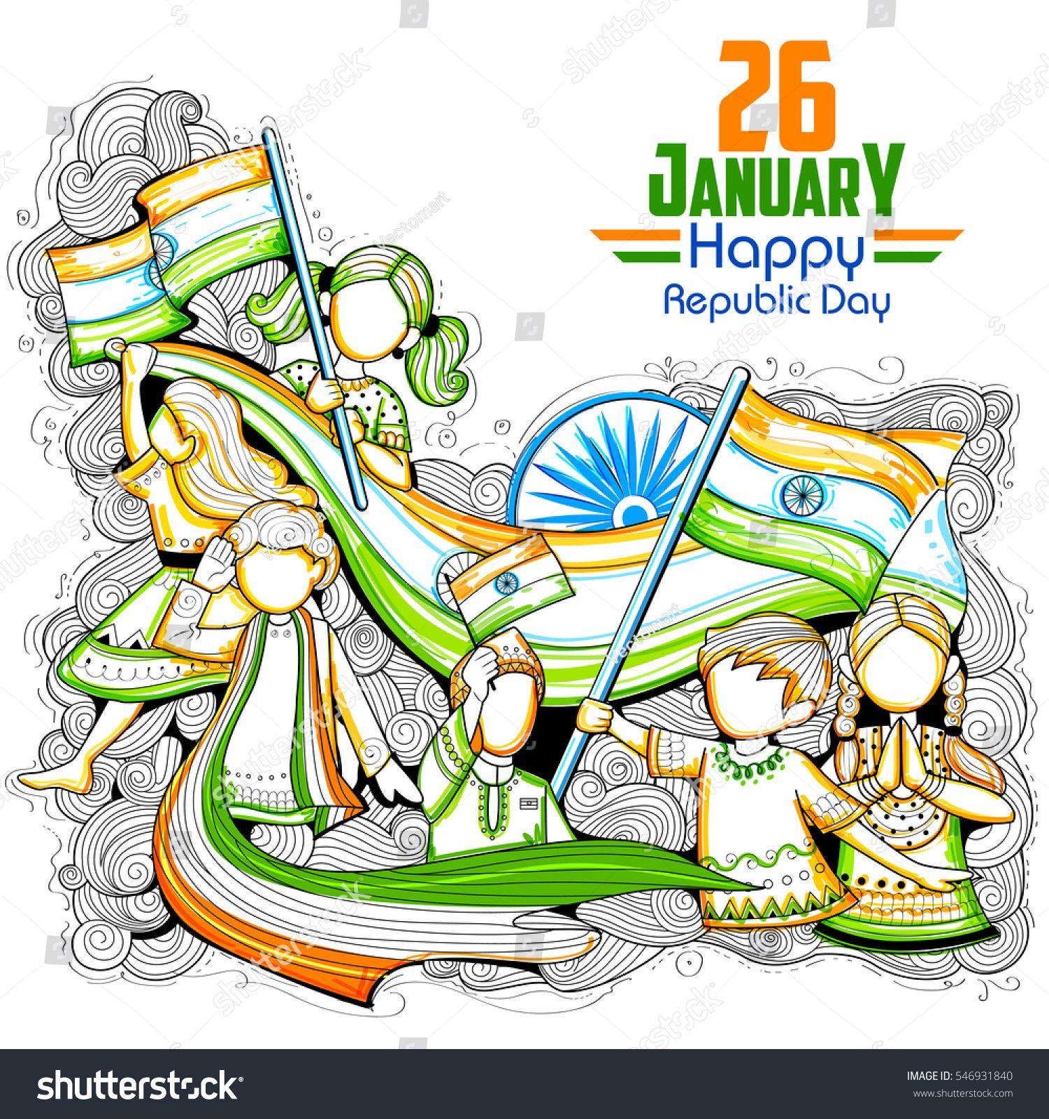 illustration of Indian kids waving tricolor flag