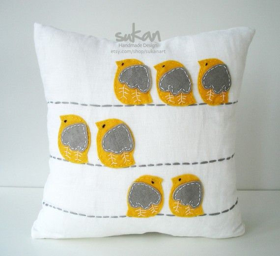 sweet yellow and grey birdie felt pillow