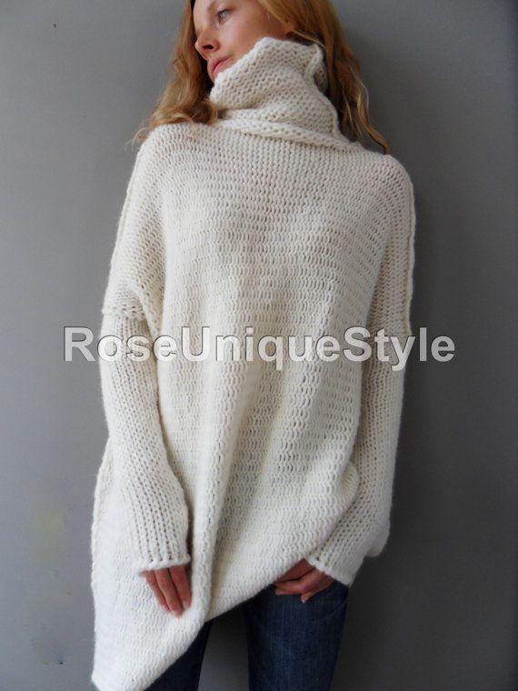 8cf48e5f31 Oversized Chunky knit alpaca woman sweater. Off white knit sweater ...