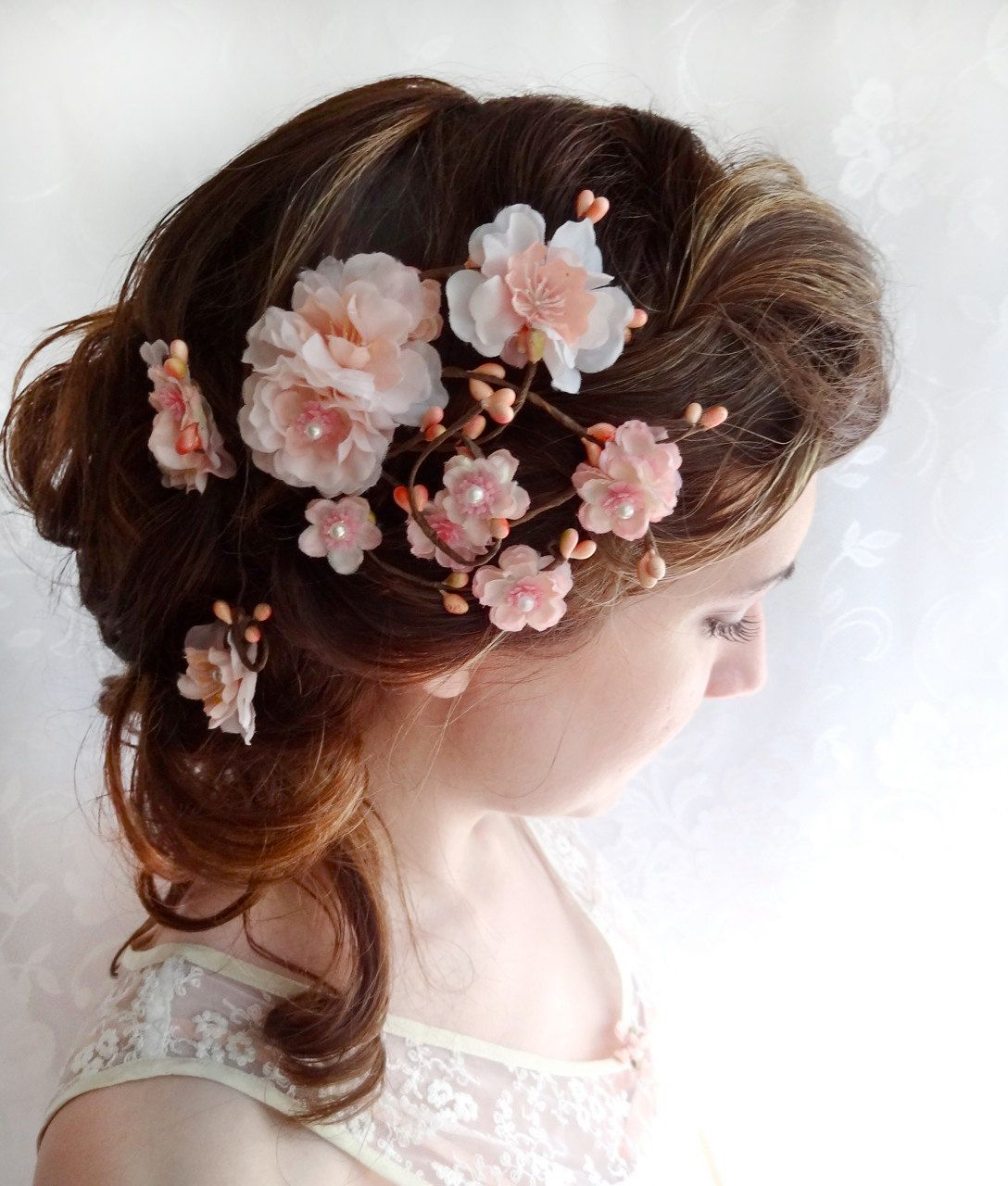 blush pink hair flower, wedding hair accessories, bridal hair clip, MISAKI - cherry blossom headpiece. $85.00, via Etsy.