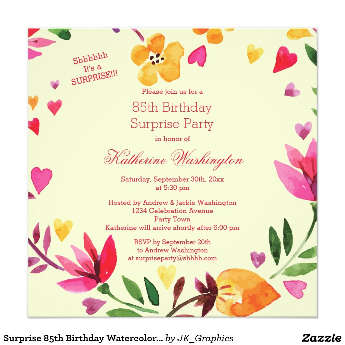 Surprise 85th Birthday Watercolor Floral Heart Card Invitation