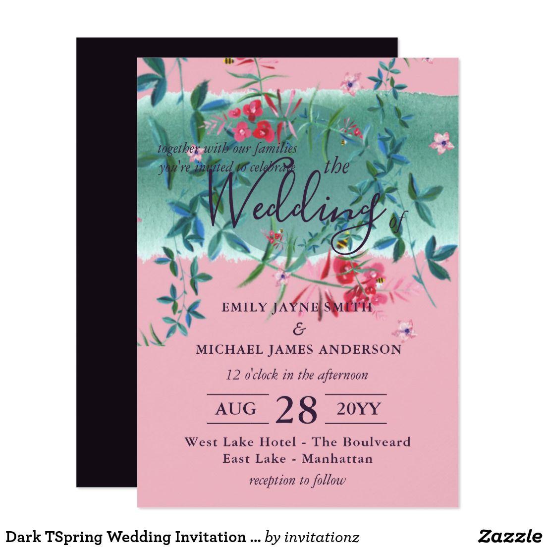 Dark TSpring Wedding Invitation Pink Purple Green | Trending Wedding ...