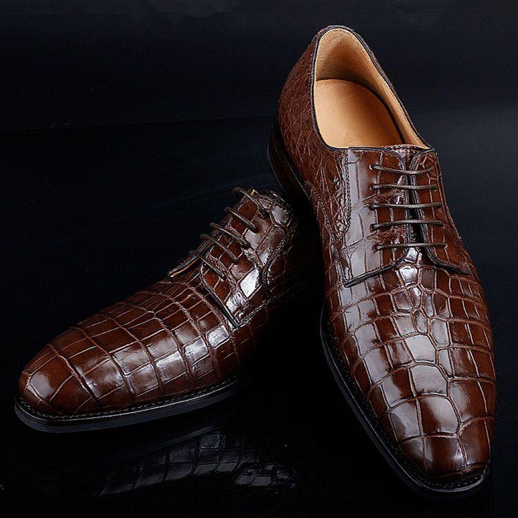 Men Crocodile Patterned dress shoes Handmade Mens Burgundy Alligators shoes