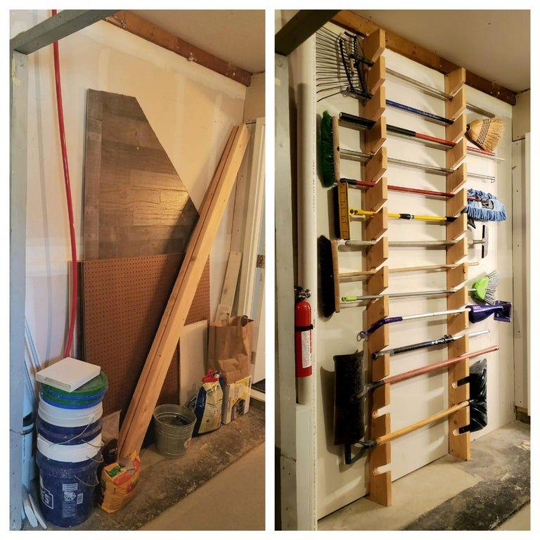 Floortoceiling garden tool/broom organization