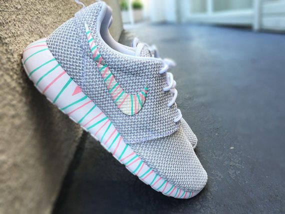 Womens Custom Nike Roshe Run sneakers, South Beach teal, Pink petals, Customized  sneakers