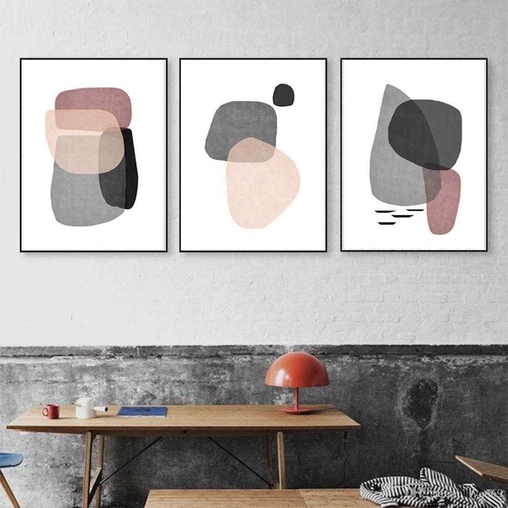 Abstract wall art set of three prints shapes poster gray