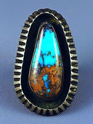"1 5/8"" GIANT Old Pawn Navajo SADIE CALVIN Sterling BISBEE Turquoise Ring Sz 7.5"