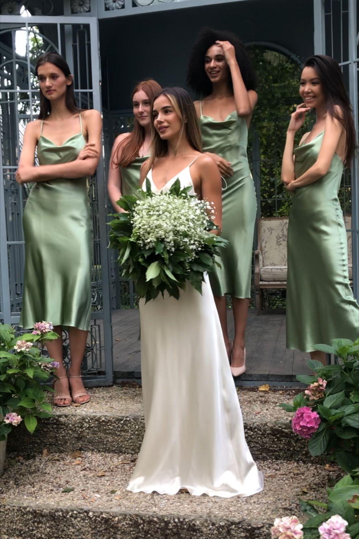 Silk slip dress midi bias cut Silk bridesmaid dres