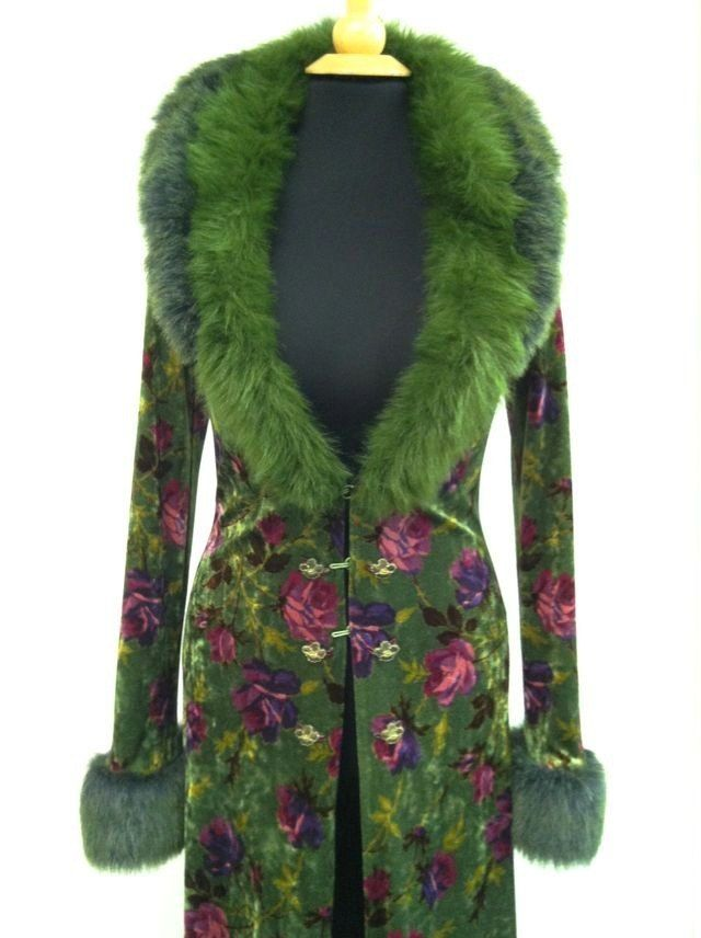 Betsey Johnson green velvet and faux fur coat