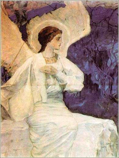 Angel on the Holy Sepulchre by Mikhail Nesterov, ca. 1911. The wonderful Art Nouveau colors Nesterov uses here are unusual in religious art.