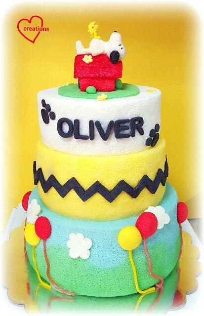Super 3 Tier Peanuts Gang Cake Snoopy Birthday Cake Cool Birthday Personalised Birthday Cards Paralily Jamesorg