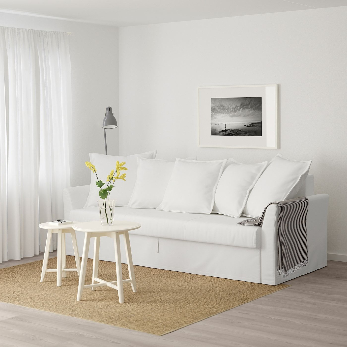 HOLMSUND Gräsbo white, Threeseat sofabed IKEA in 2020