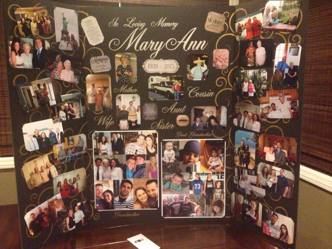 memory board made for great grammas funeral service