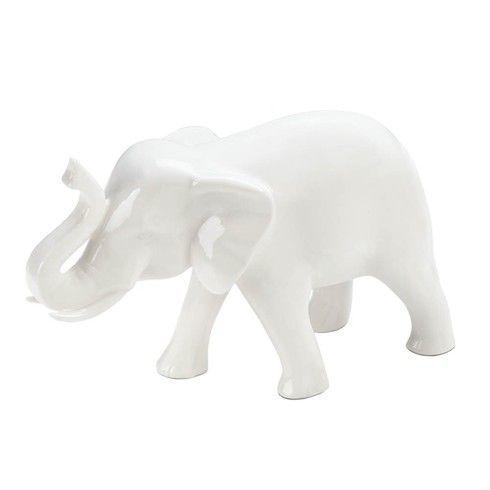Small White Ceramic Elephant