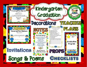 Kindergarten Graduation Diplomas Programs Invitations Songs