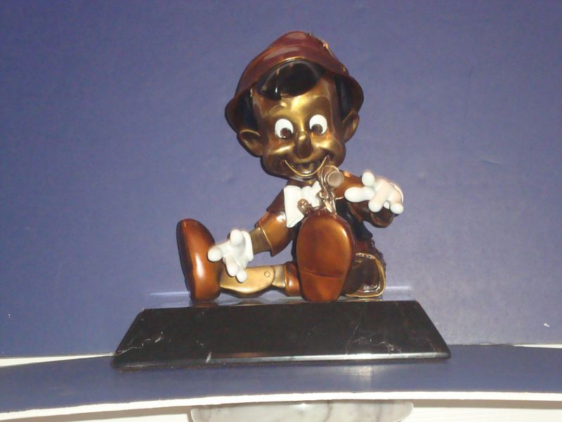 Disney Bronze A/P Colored Pinocchio Extremely Rare Heavy Marble Base Statue