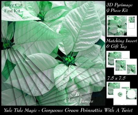 Yule Tide Magic gorgeous Green Poinsettia Pyrimid with Twist on Craftsuprint - Add To Basket!