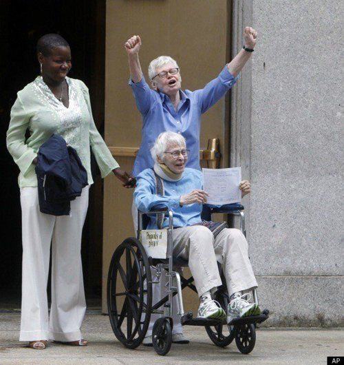 First same sex couple to be married in NY, Phyllis Siegel (76) and Connie Kopelov (84).