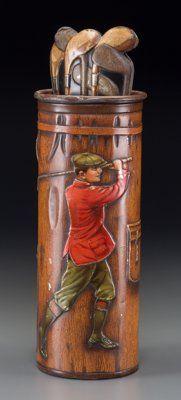 A MacFarlane Lang & Co. Golf Bag Biscuit Tin, circa 1913 10-5/8 inches high (27.0 cm)