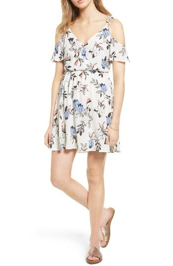 Free shipping and returns on Lush Surplice Cold Shoulder Dress at Nordstrom.com. Sweet little bow-tied straps suspend the draped cold-shoulder sleeves of this sundress in a dreamy pastel hue.