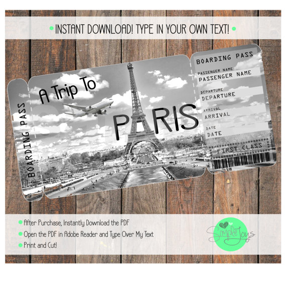 Printable Ticket to Paris Boarding Pass, Customizable Template - printable ticket paper