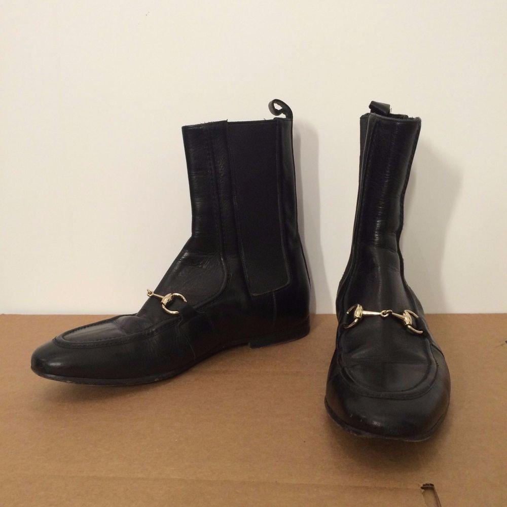 Men's Black Gucci Horsebit Mod Chelsea Boots size 40E #Gucci #AnkleBoots
