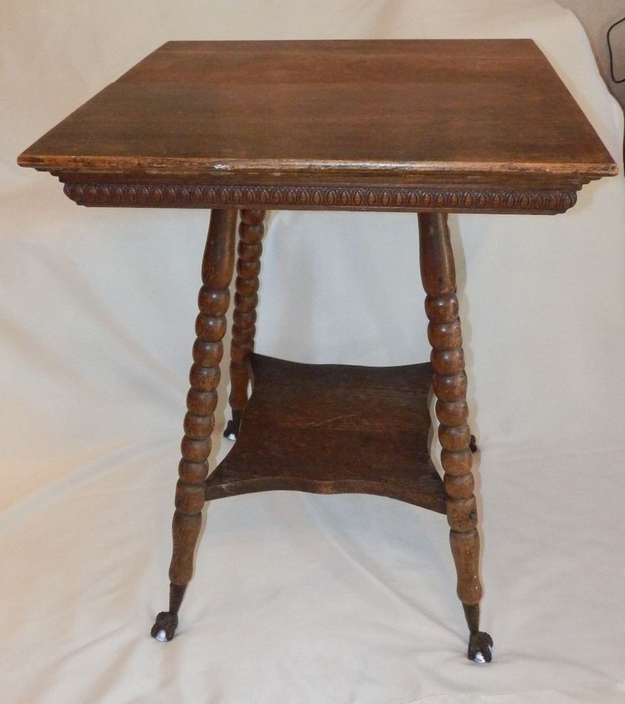 Antique Oak Wood Parlor Table W Glass Ball Claw Foot W Shelf Vintage Parlor Table Oak Wood Desk Wood Stand
