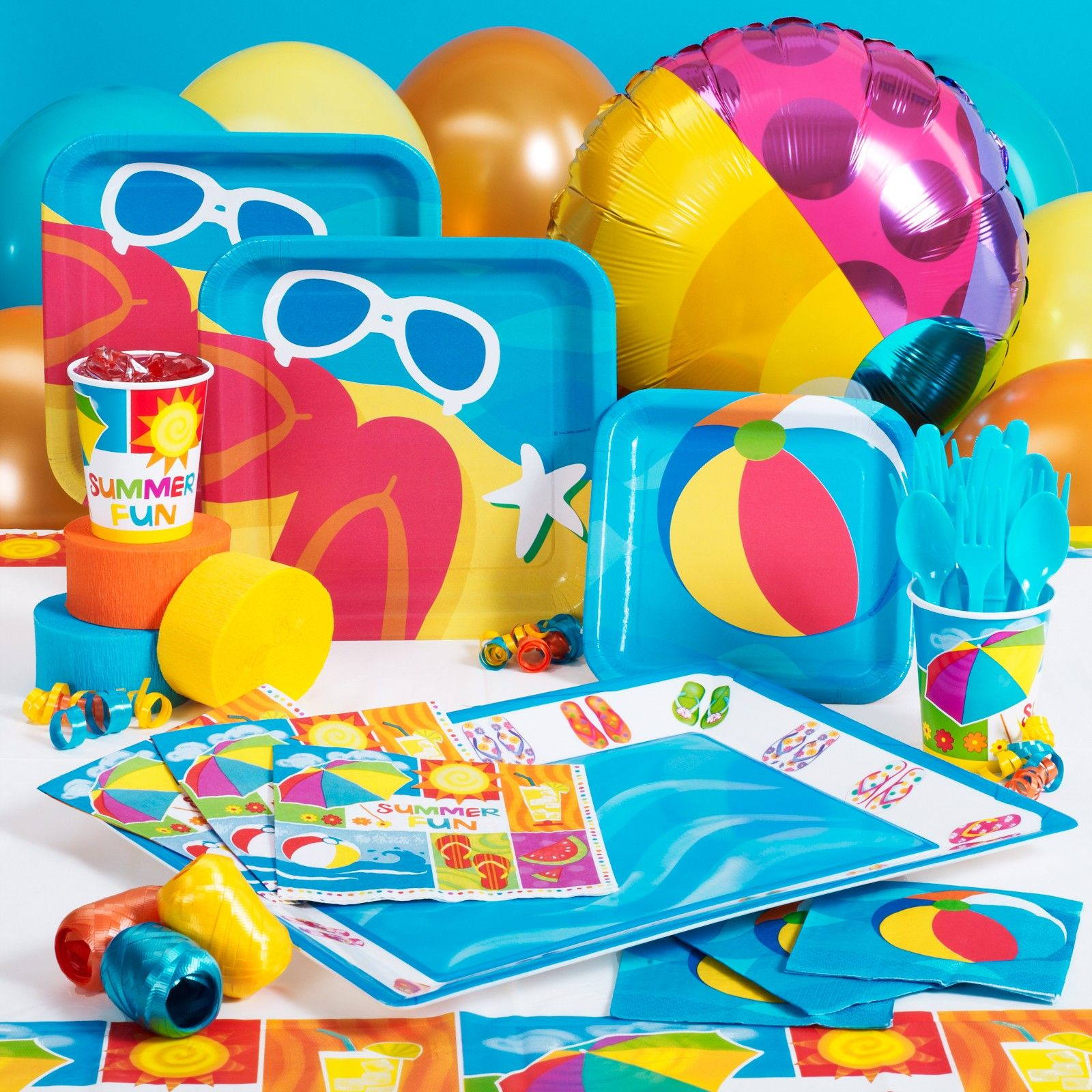 Beach ball flip flop sunglasses theme hannah s birthday