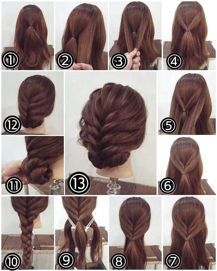 Einfache Frisur Schritt Fur Schritt Zu Hause Einfache Frisur Fur Hause Schr Mittellange Haare Frisuren Einfach Lange Haare Hochsteckfrisuren Lange Haare