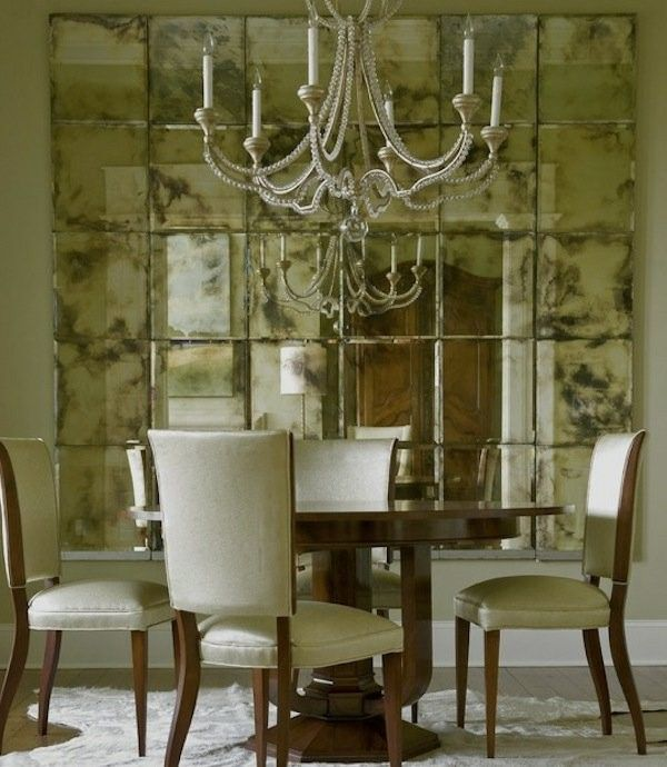belle salle à manger avec un mur de miroir Cuisine Pinterest House