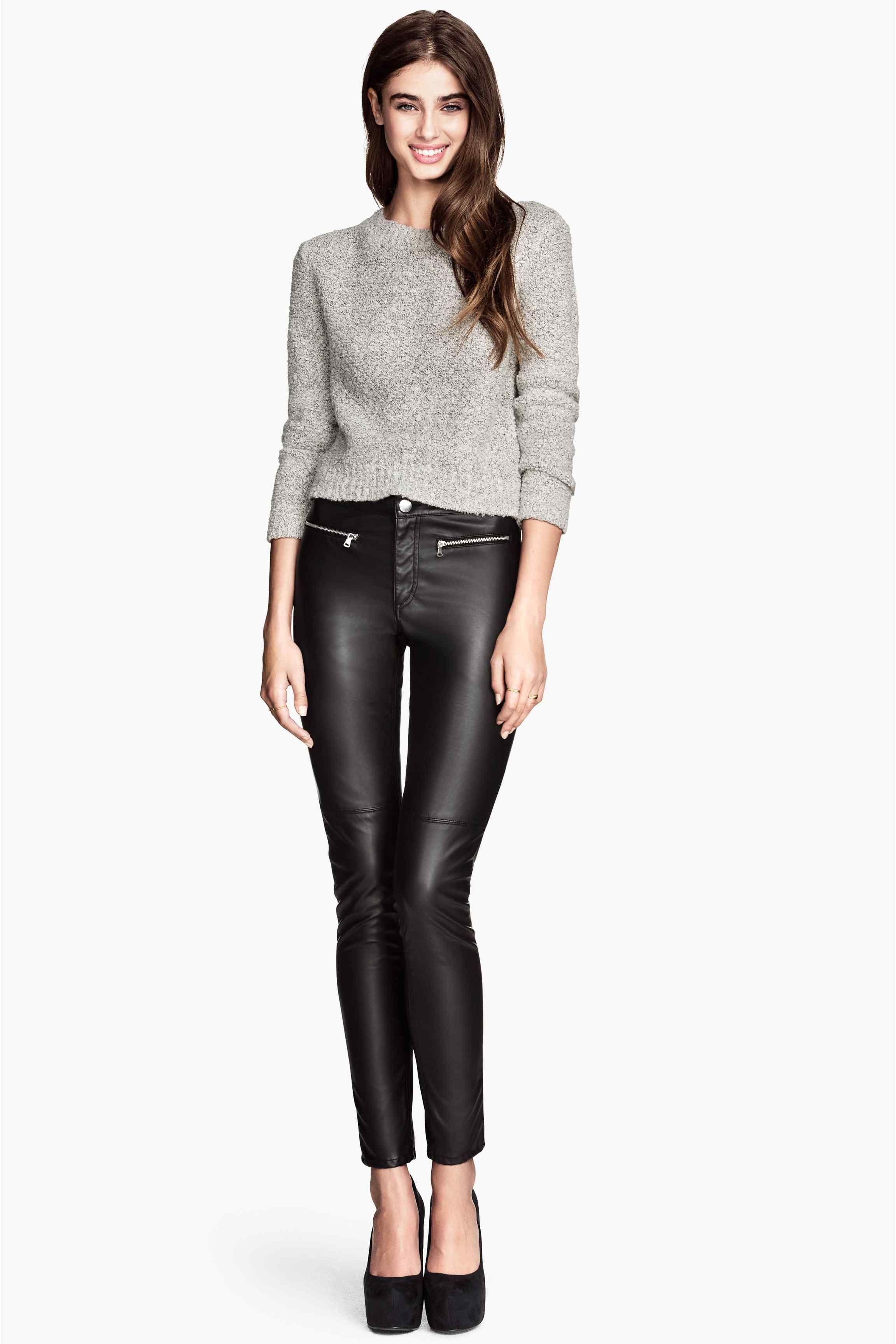 Pantalon de style motard - Noir/imitation cuir - FEMME | H&M FR