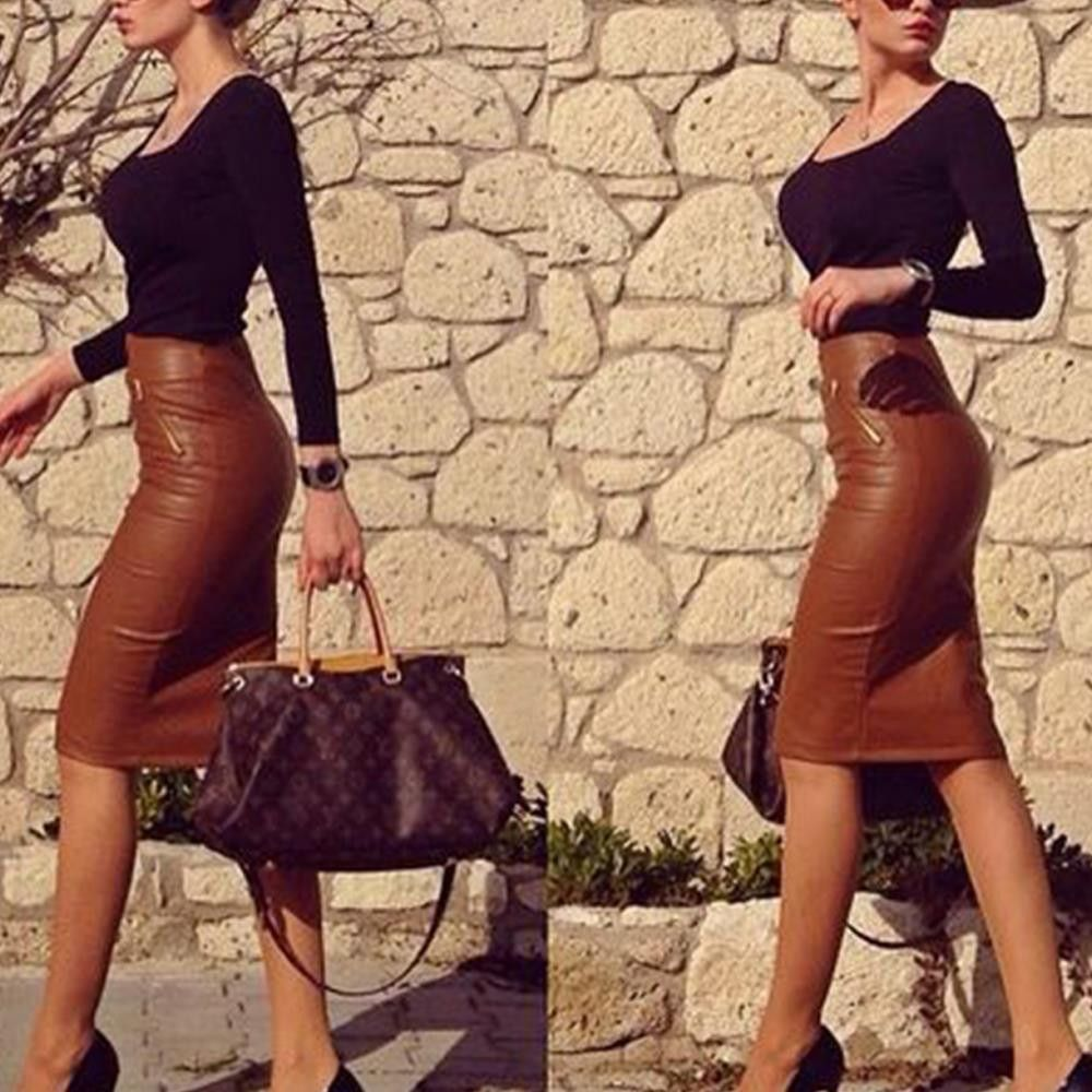 Preself Women's Fashion Sexy PU Leather Mini Bandage Pencil Skirt with High-Waist and Zipper Plus Size