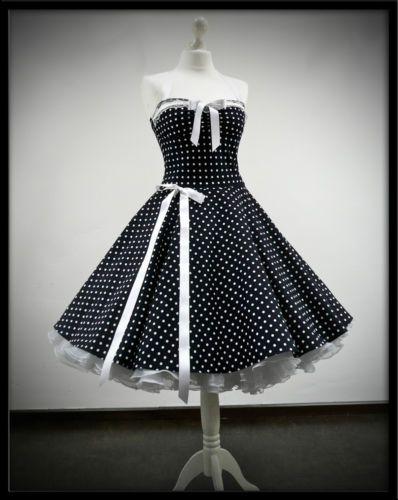 Rockabilly Kleid Petticoat Punktekleid 50er 60er Jahre Stil
