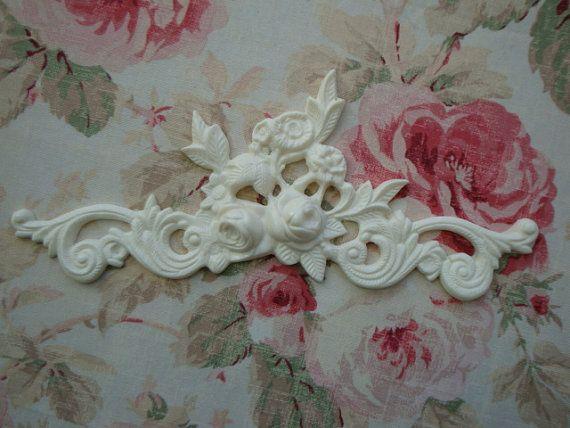 Roses ~ Leaves Floral Swag Center Architectural PedimentFurniture Applique NEW