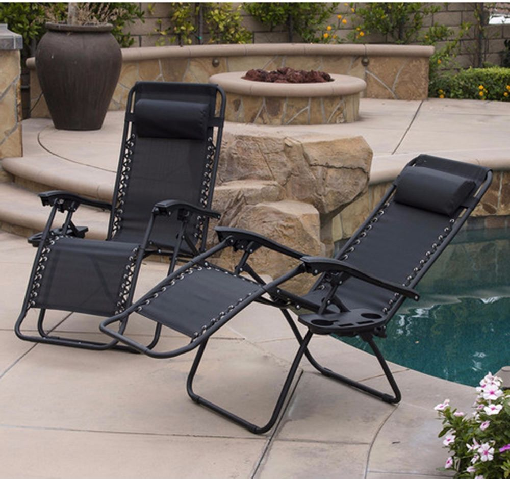Details about Chaise Lounge Set Of 2 Zero Gravity Chair