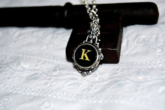 Typewriter Key Initial Necklace Personalized by JustWearThese