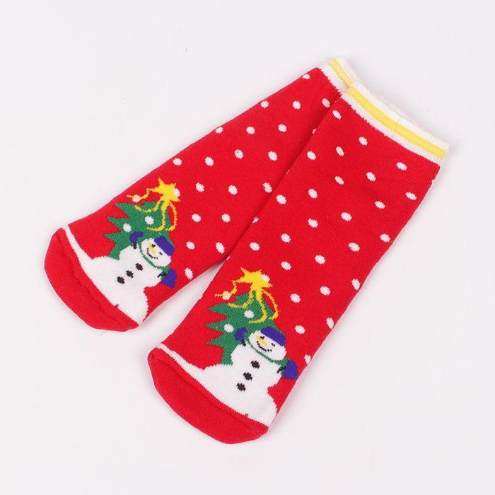 8adc200e6f5 Детски топли и меки термо чорапи в червено и картинка на снежен човек, елха  и