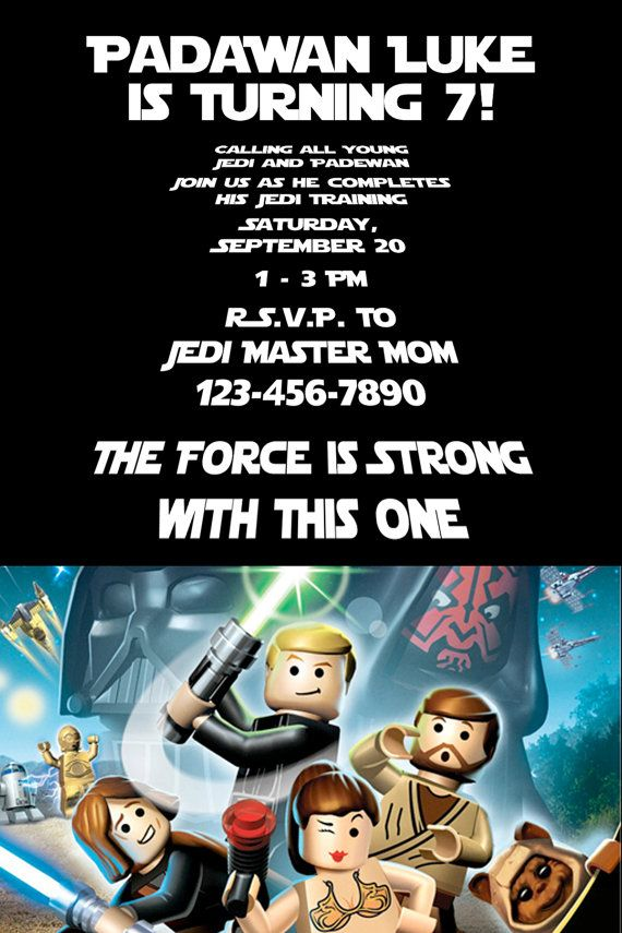 Padawan And Young Jedis Will Love This Lego Star Wars Birthday Party Invitation Printable Invite Available For 850