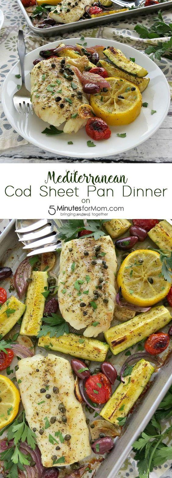 Mediterranean Cod Sheet Pan Dinner #onepandinners