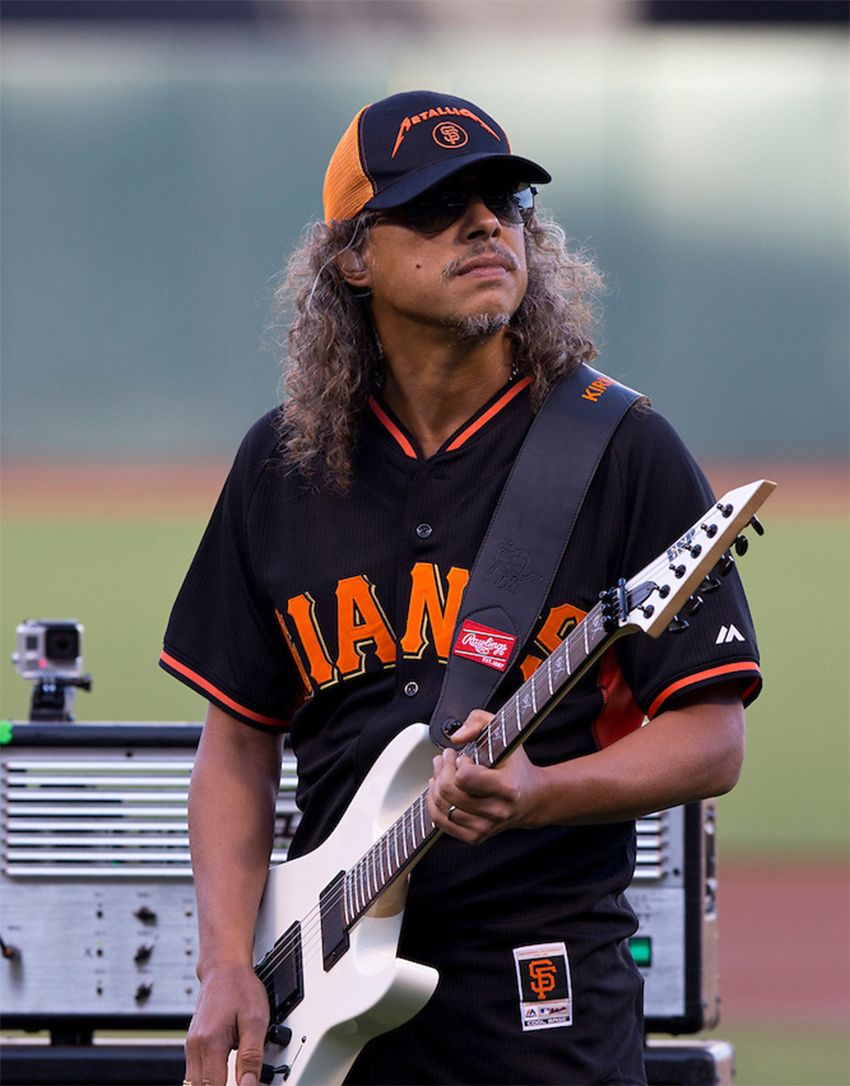 kirk hammett of metallica metallica night at sf giants game at at t park san francisco. Black Bedroom Furniture Sets. Home Design Ideas