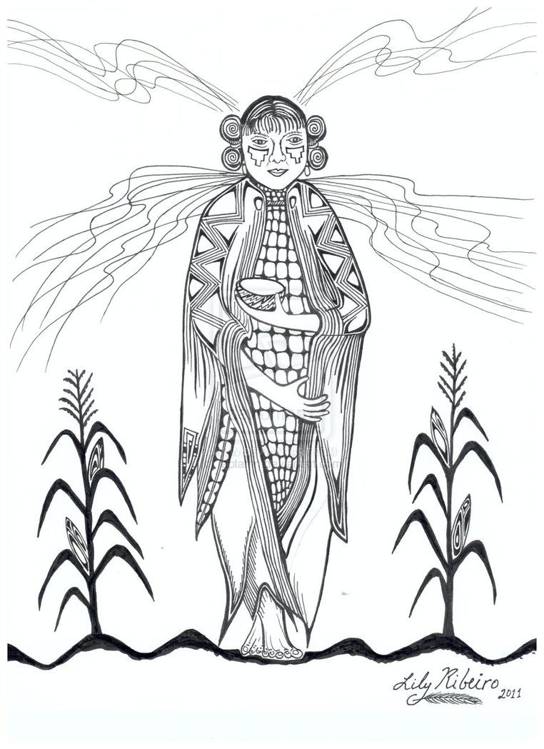 Hopi Corn Maiden Coloring Page