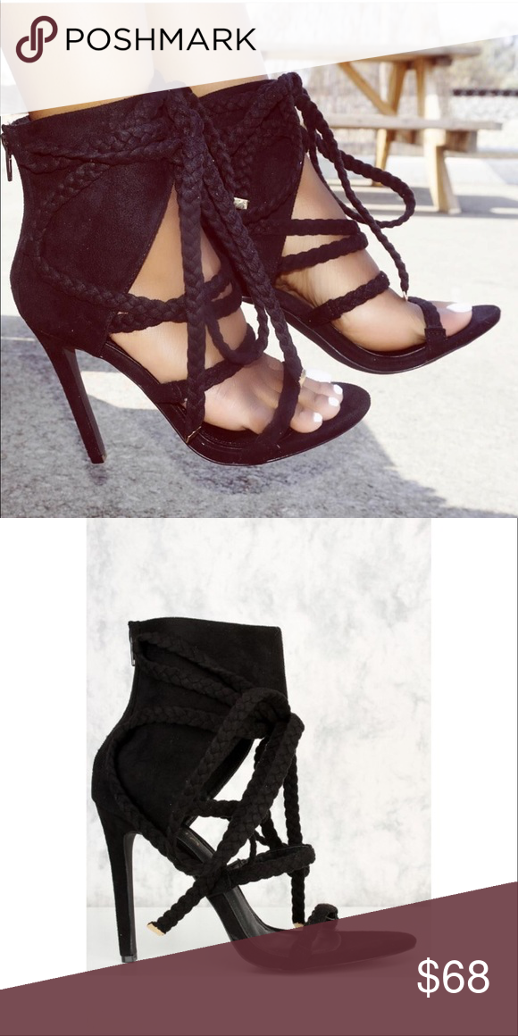 ceabc1effd812 Black Strappy Braided Peep Toe Sandal Braided and strappy Sandal.  Featuring