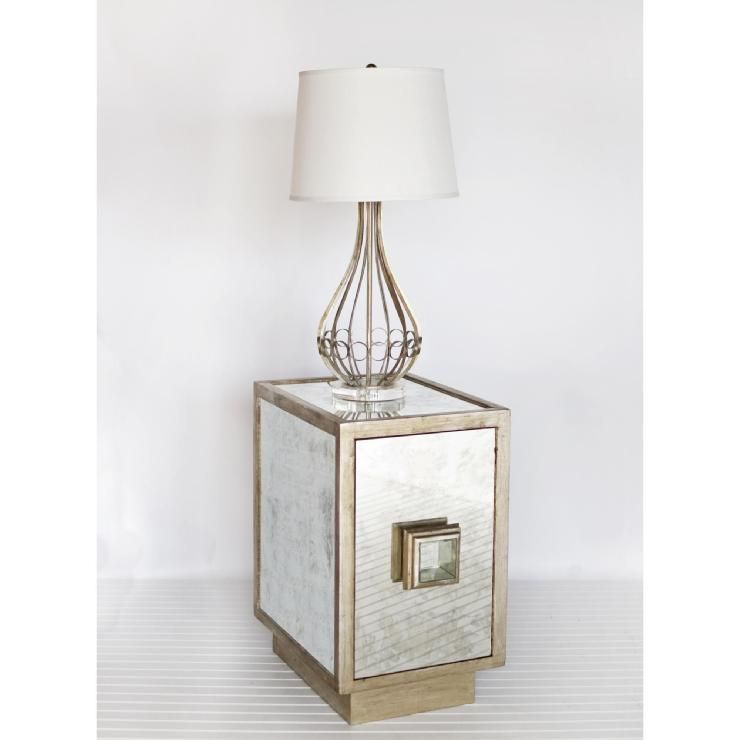 worlds away savannah end table in antiqued mirror with silver leaf